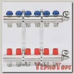 Коллекторная группа UNI-FITT из латуни 441E с регулировочными и термостатическими вентилями 1x3/4 с 6 отводами
