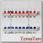 Коллекторная группа UNI-FITT из латуни 440E с термостатическими вентилями и расходомерами 1x3/4 с 9 отводами