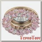 Светильник Эра декор круглый с мелкими хрусталиками золото/прозрачный розовый