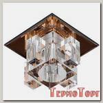 Светильник Эра декор хрустальнй куб с вертик столб. G9,220V, 40W, коричневый/прозрачный