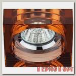 Светильник Эра декор квадрат малый толст.стекло MR16,12V/220V, 50W, хром/коричневый