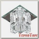 Светильник Эра декор хрустальнй куб с вертик столб. G9,220V, 40W, зеркальный/прозрачный