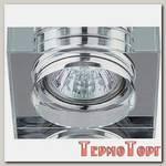 Светильник Эра декор квадрат толстое стекло MR16,12V/220V, 50W, хром/прозрачный