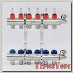 Коллекторная группа UNI-FITT из латуни 440E с термостатическими вентилями и расходомерами 1x3/4 с 6 отводами